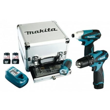 Kit Makita Trapano Avvitatore+trapano Impulsi+torcia+caricabatterie+valigetta Alluminio