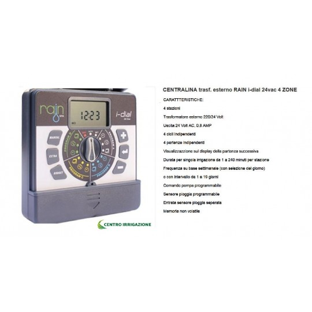 Centralina I-dial 4 Zone 24vac Indoor (interno) Indoor Programmatore Rain