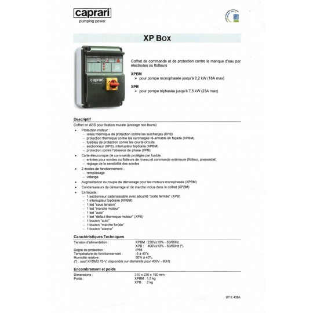 Xpbm Quadro Caprari Hp1,5