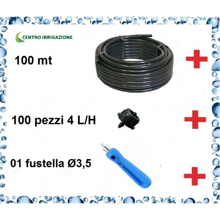 Kit Impianto A Goccia 100mt Tubo Pn6 16+100 Gocciolatoi 4lt/h+01 Fustella