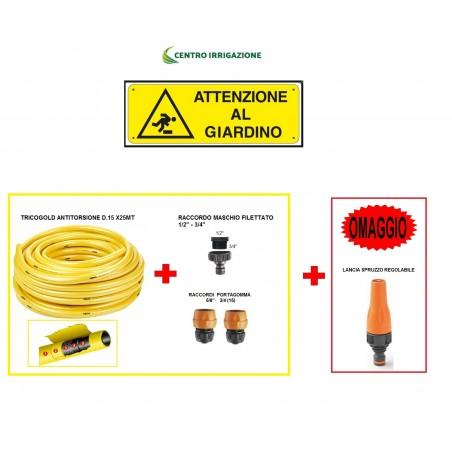 Kit Giardino 25mt Tricogold D.15+raccordo Rubinetto+2 Raccordi Rapidi+lancia Regolabile Omaggio