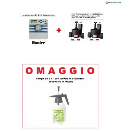 """Kit Irrigazione """"pay 3 Take Away 4"""" Centralina 2stazioni Hunter+elettrovalvola 1 +omaggio"""