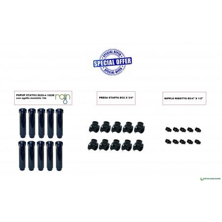 Kit Popup Rain S020-4 15a+presa Staffa 32+nipplo Ridotto 3/4 X 1/2