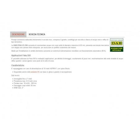 POMPA SOMMERSA X DRENAGGIO/FOGN.HP0.8 ACCIAO DAB