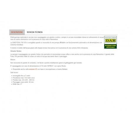 POMPA SOMMERSA X DRENAGGIO/FOGN.HP1.0 ACCIAO DAB